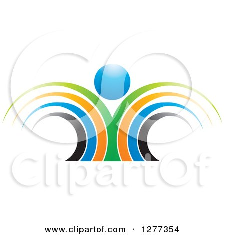 Clipart of a Colorful Abstract Person with a Blue Head - Royalty Free Vector Illustration by Lal Perera