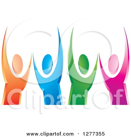 Clipart of Colorful Cheering People - Royalty Free Vector Illustration by Lal Perera