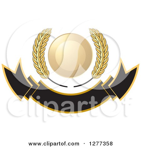 Clipart of a Wheat Stalks and a Gold Circle over a Blank Banner - Royalty Free Vector Illustration by Lal Perera