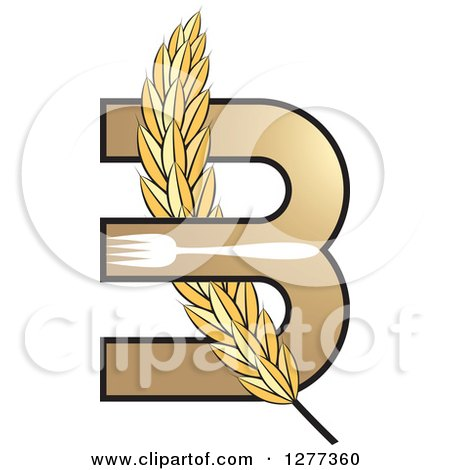 Clipart of a Wheat Stalk Weaved Through a Letter B with a Fork - Royalty Free Vector Illustration by Lal Perera