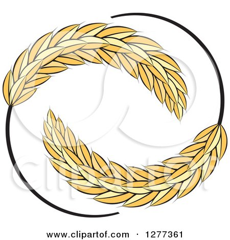 Clipart of a Circle of Wheat Stalks - Royalty Free Vector Illustration by Lal Perera