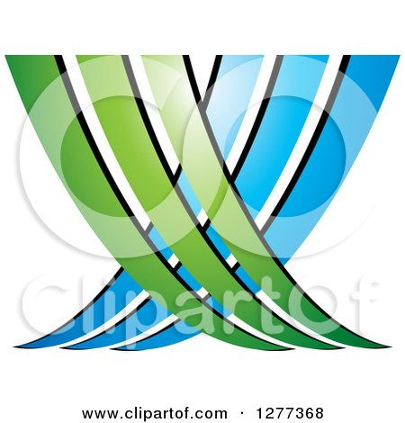 Clipart of a Blue and Green Abstract Ecology Logo 3 - Royalty Free Vector Illustration by Lal Perera