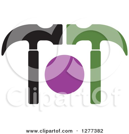 Clipart of a Green Purple and Black Hammer Design - Royalty Free Vector Illustration by Lal Perera
