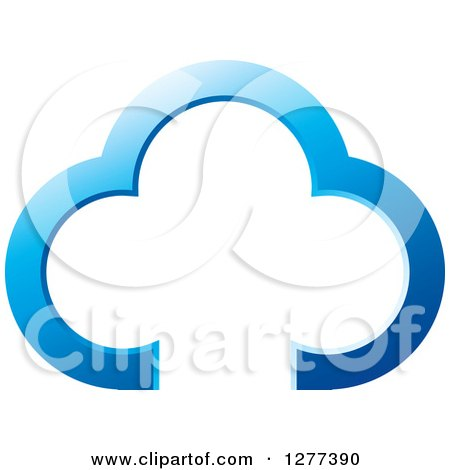 Clipart Of A Blue Happy Cloud Family
