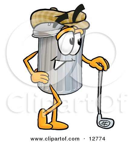 Clipart Picture of a Garbage Can Mascot Cartoon Character Leaning on a Golf Club While Golfing by Toons4Biz