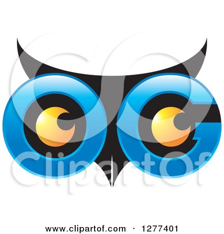 Clipart of a Blue and Black Owl Face with Yellow Eyes - Royalty Free Vector Illustration by Lal Perera