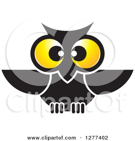 Clipart of a Black Owl with Big Yellow Eyes - Royalty Free Vector Illustration by Lal Perera