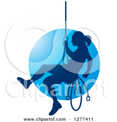 Clipart of a Silhouetted Woman Rappelling over Blue - Royalty Free Vector Illustration by Lal Perera