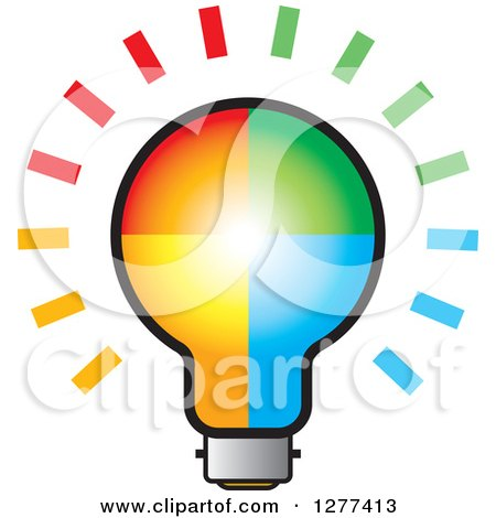 Clipart of a Colorful Shining Light Bulb - Royalty Free Vector Illustration by Lal Perera