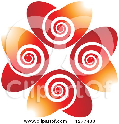 Clipart of Gradient Red and Orange Hearts with White Swirls - Royalty Free Vector Illustration by Lal Perera