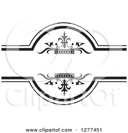 Clipart of a Black and White Label with Luxury Crowns - Royalty Free Vector Illustration by Lal Perera