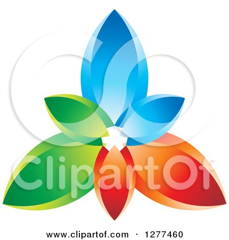 Clipart of a Colorful Blue Red and Green Petals Design - Royalty Free Vector Illustration by Lal Perera