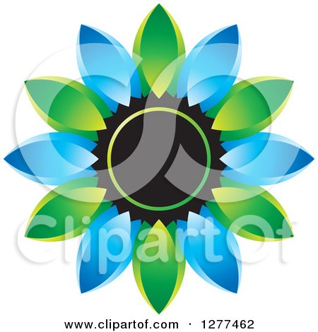 Clipart of a Blue and Green Daisy Flower Icon - Royalty Free Vector Illustration by Lal Perera