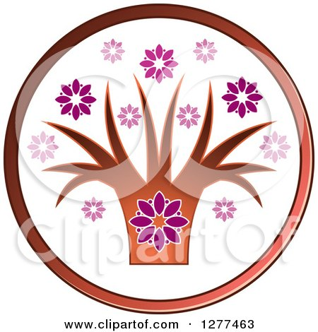 Clipart of a Flower and Tree Icon - Royalty Free Vector Illustration by Lal Perera