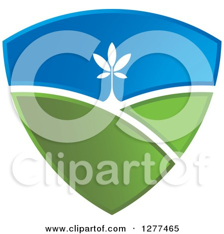 Clipart of a Green and Blue Sky and Hill Shield with a Tree - Royalty Free Vector Illustration by Lal Perera
