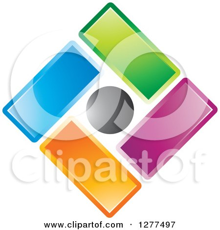 Clipart of a Diamond of Colorful Tiles and a Black Circle - Royalty Free Vector Illustration by Lal Perera