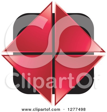 Clipart of Red Triangles Forming a Diamond over a Black Square - Royalty Free Vector Illustration by Lal Perera