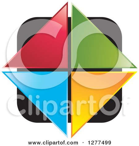 Clipart of Colorful Triangles Forming a Diamond over a Black Square - Royalty Free Vector Illustration by Lal Perera