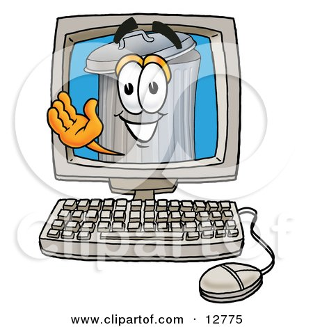 Clipart Picture of a Garbage Can Mascot Cartoon Character Waving From Inside a Computer Screen by Toons4Biz