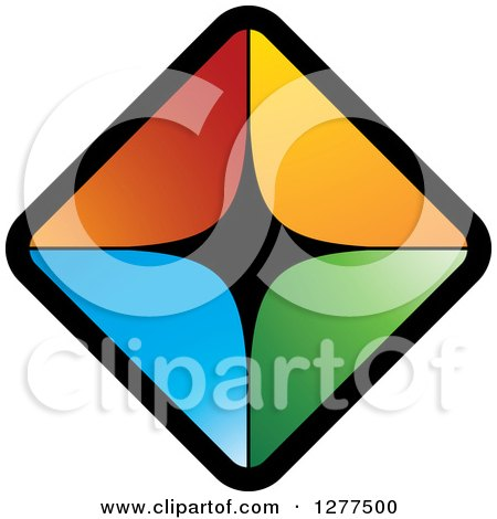 Clipart of Diamond of Colorful Triangles - Royalty Free Vector Illustration by Lal Perera
