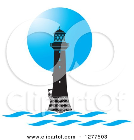 Clipart of a Black Lighthouse Against a Blue Circle - Royalty Free Vector Illustration by Lal Perera