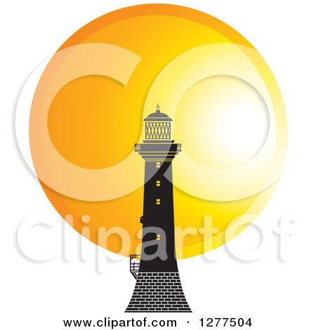 Clipart of a Black Lighthouse Against a Sunset Circle - Royalty Free Vector Illustration by Lal Perera