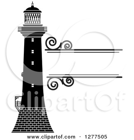 Clipart of a Black and White Lighthouse and Swirl Text Box - Royalty Free Vector Illustration by Lal Perera
