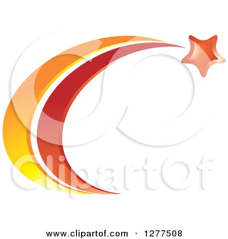 Clipart Of A Shooting Star With Red And Orange Trails Royalty Free Vector Illustration