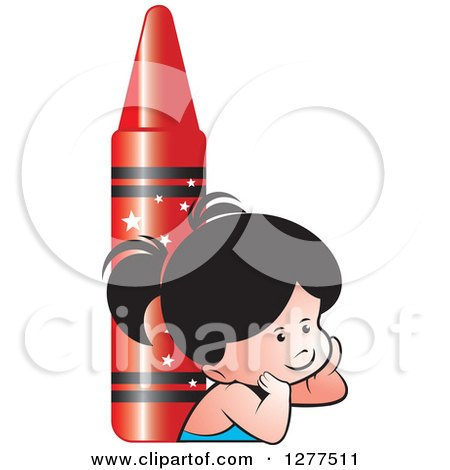 Clipart of a Thinking School Girl and Giant Red Crayon - Royalty Free Vector Illustration by Lal Perera