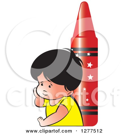 Clipart of a Thinking School Boy and a Giant Red Crayon - Royalty Free Vector Illustration by Lal Perera