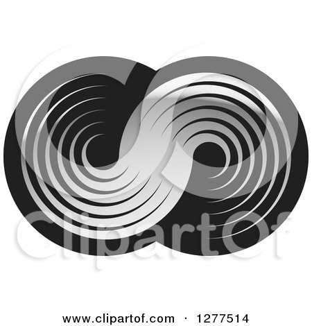 Clipart of Gray Swooshes on Black - Royalty Free Vector Illustration by Lal Perera
