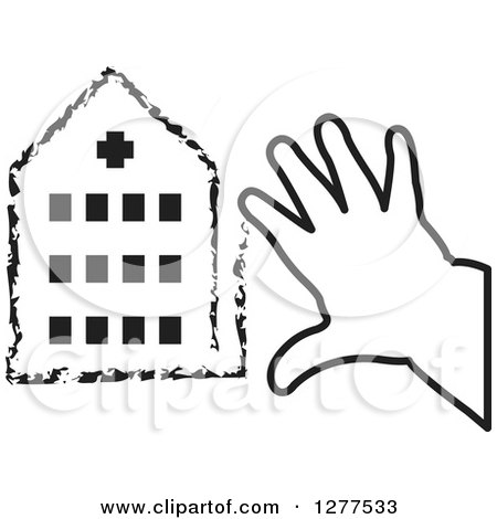Clipart of a Black and White Child's Hands Drawing a Hospital - Royalty Free Vector Illustration by Lal Perera