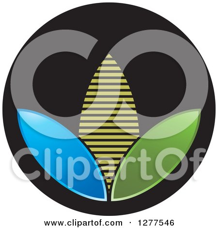Clipart of a Blue Green and Yellow Corn on a Black Icon - Royalty Free Vector Illustration by Lal Perera