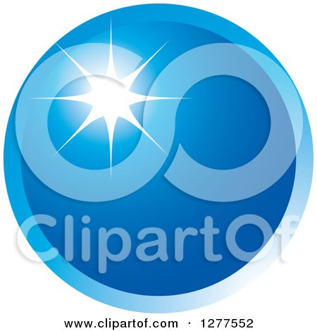 Clipart of a Round Blue Icon with a Burst - Royalty Free Vector Illustration by Lal Perera