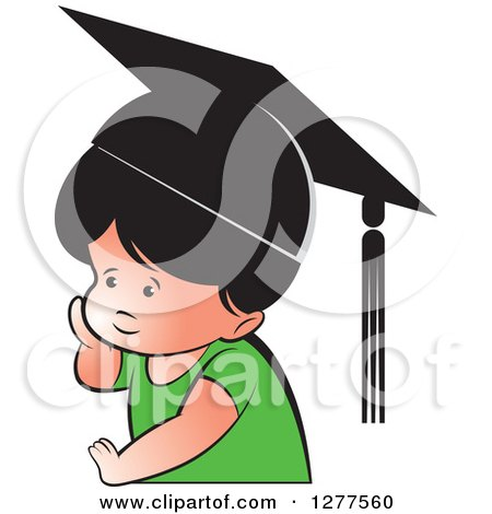 Clipart of a Thinking School Boy Wearing a Hat - Royalty Free Vector Illustration by Lal Perera