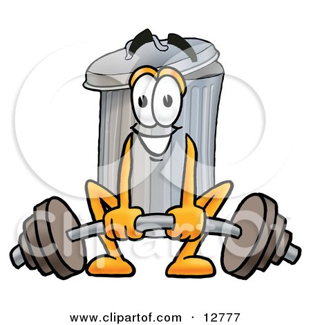 Clipart Picture of a Garbage Can Mascot Cartoon Character Lifting a Heavy Barbell by Toons4Biz