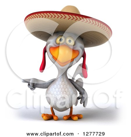 Clipart of a 3d White Mexican Chicken Wearing a Sombrero and Pointing Left - Royalty Free Illustration by Julos