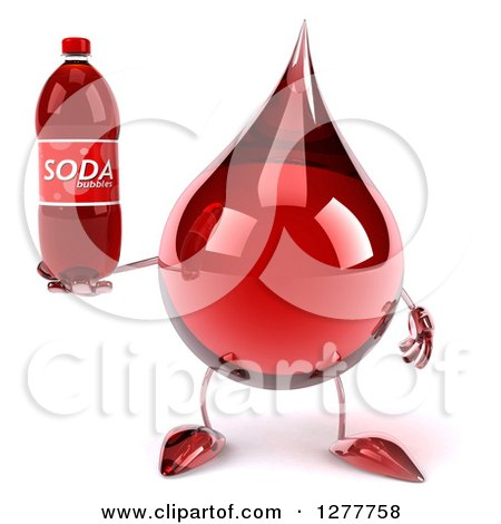 Clipart of a 3d Hot Water or Blood Drop Mascot Holding a Soda Bottle - Royalty Free Illustration by Julos
