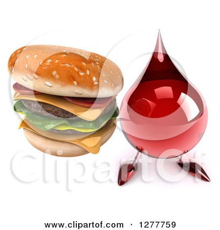 Clipart of a 3d Hot Water or Blood Drop Mascot Holding up a Double Cheeseburger - Royalty Free Illustration by Julos