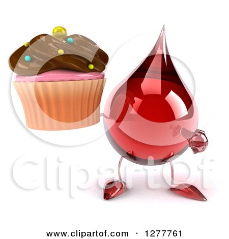 Clipart of a 3d Hot Water or Blood Drop Mascot Holding and Pointing to a Chocolate Frosted Cupcake - Royalty Free Illustration by Julos