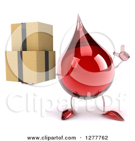 Clipart of a 3d Hot Water or Blood Drop Mascot Holding up a Finger and Boxes - Royalty Free Illustration by Julos
