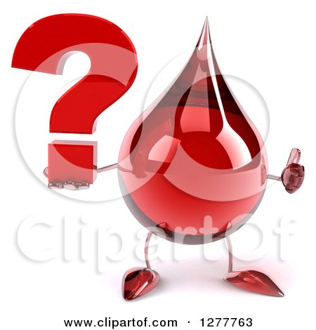 Clipart of a 3d Hot Water or Blood Drop Mascot Holding a Thumb up and a Question Mark - Royalty Free Illustration by Julos