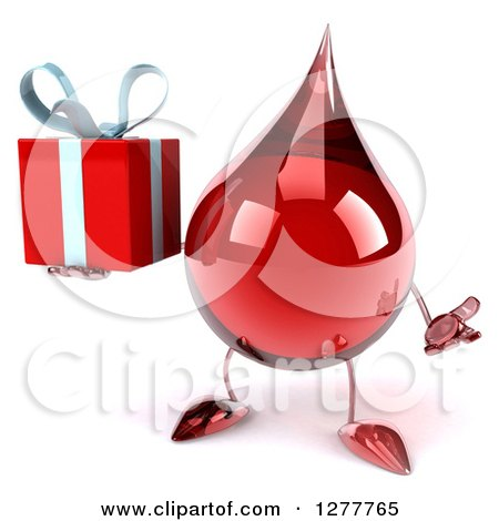 Clipart of a 3d Hot Water or Blood Drop Mascot Shrugging and Holding a Gift - Royalty Free Illustration by Julos
