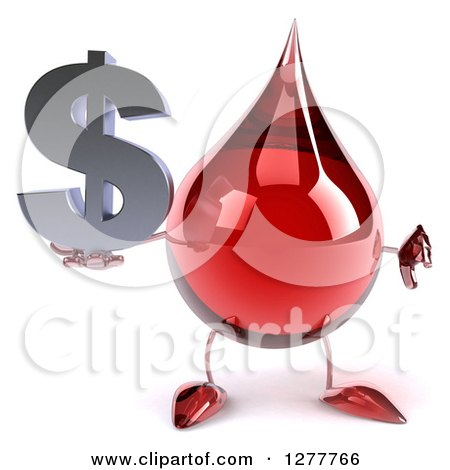 Clipart of a 3d Hot Water or Blood Drop Mascot Holding a Thumb down and a Dollar Symbol - Royalty Free Illustration by Julos