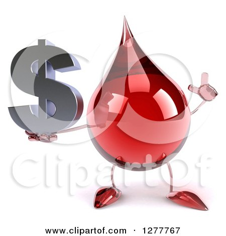 Clipart of a 3d Hot Water or Blood Drop Mascot Holding up a Finger and a Dollar Symbol - Royalty Free Illustration by Julos