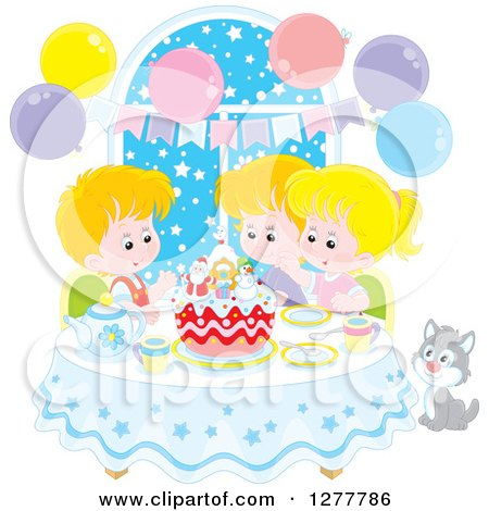 Clipart of Happy White Children and a Cat Celebrating a December or Christmas Birthday - Royalty Free Vector Illustration by Alex Bannykh