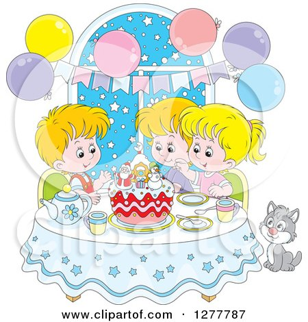 Clipart of Happy Caucasian Children and a Cat Celebrating a December or Christmas Birthday - Royalty Free Vector Illustration by Alex Bannykh