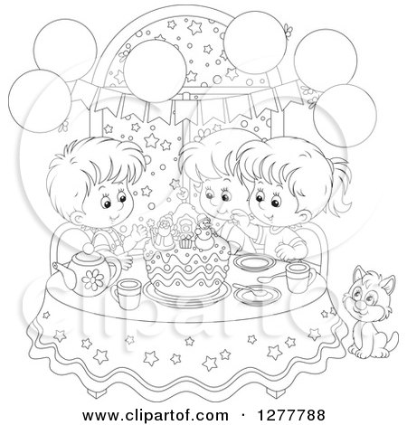 Clipart of Happy Black and White Children and a Cat Celebrating a December or Christmas Birthday - Royalty Free Vector Illustration by Alex Bannykh