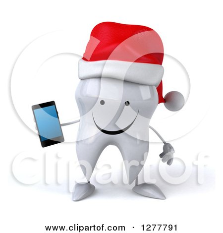 Clipart of a 3d Happy Christmas Tooth Character Holding a Smart Phone - Royalty Free Illustration by Julos