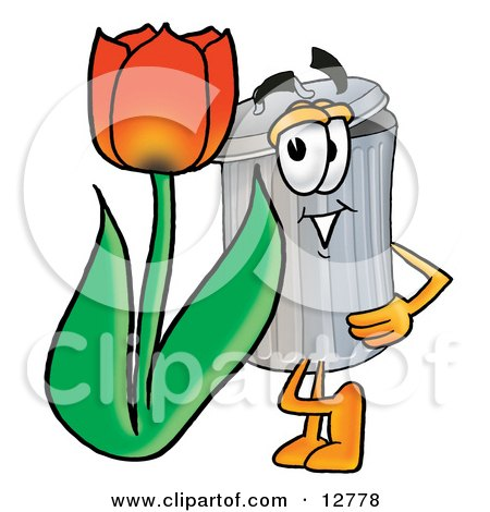 Clipart Picture of a Garbage Can Mascot Cartoon Character With a Red Tulip Flower in the Spring by Toons4Biz